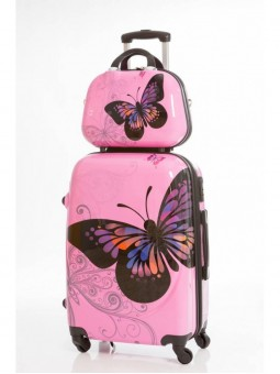 Set Neceser mas Maleta Grande Mariposas