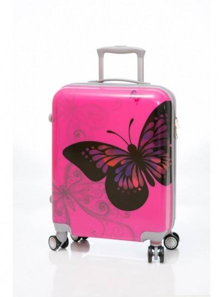 Maleta Cabina Mariposas Rosa Low Cost