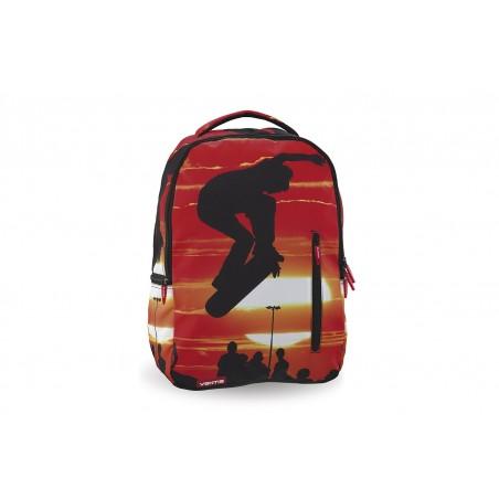 Mochila + Estuche + MP3 Ventis Skater roja