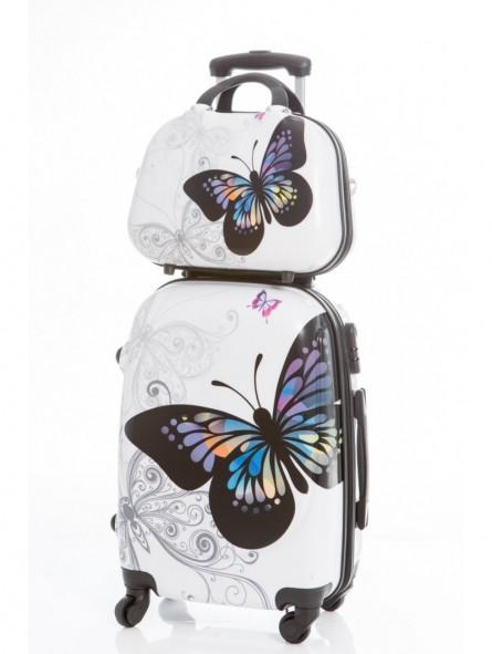 Set maleta mediana + neceser Mariposas