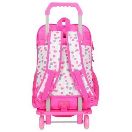 Mochila doble rosa con carro Movom Confeti