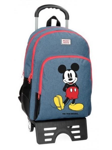 Mochila doble con carro Disney Mickey Blue