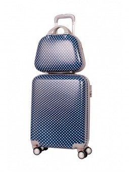 Set maleta cabina + neceser Azul Lunares