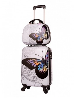 Set maleta pequeña + neceser + MP3 Mariposas