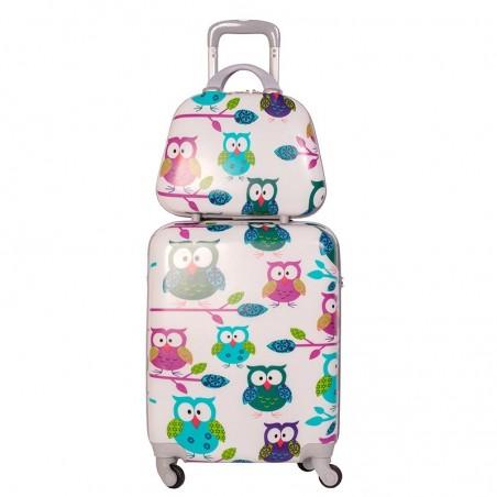 Pack maleta cabina más neceser Búhos