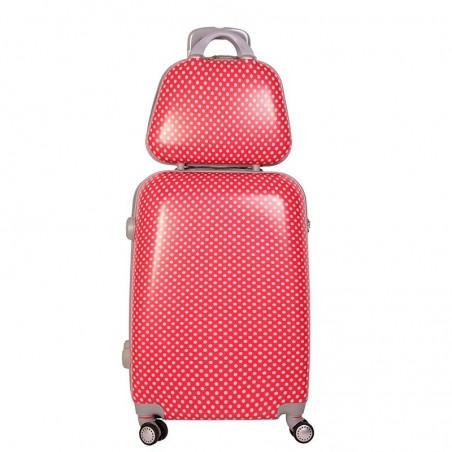Set maleta mediana y neceser Lunares Roja