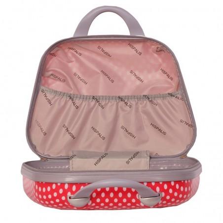 Juego de dos maletas y neceser Lunares roja
