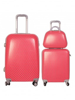 Juego de maletas + neceser Lunares roja