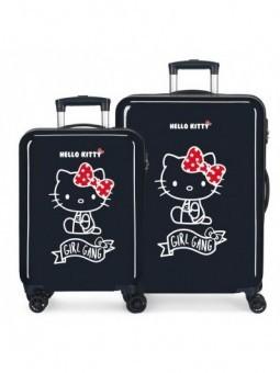 Juego de maletas azul Hello Kitty Girl Gang