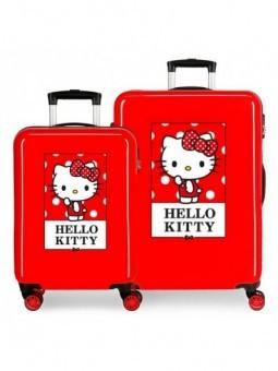 Juego de maletas rojas Hello Kity Bow