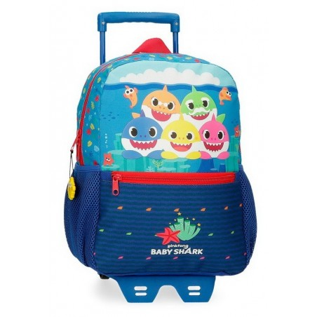 Mochila mediana con carro Baby Shark Happy Family