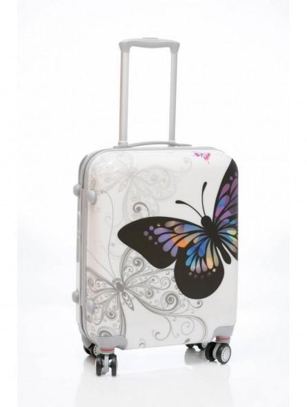 Maleta cabina low cost Mariposas blanca + MP3