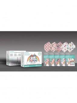 Mascarillas infantiles FFP2 rosa y blanca